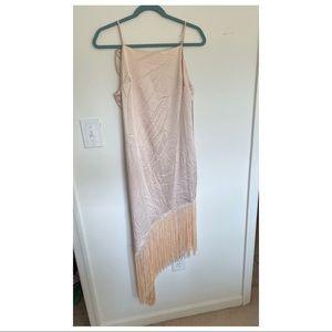 NWT Lulus champagne asymmetric fringe dress